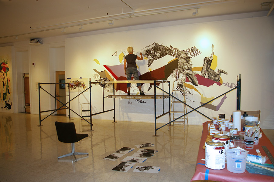 """Weight of Evolution"" (in progress) from ""Seven: A Performative Drawing Project"", Montserrat College of Art, 12 x 27' wall, 2012"