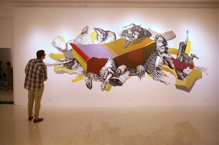 """Weight of Evolution"" from ""Seven: A Performative Drawing Project"", Montserrat College of Art, 12 x 27' wall, 2012"